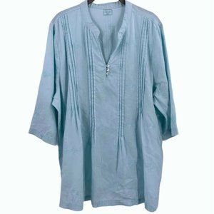 SYMPLE NYC Aqua Blue Embroidered 100% Linen Tunic